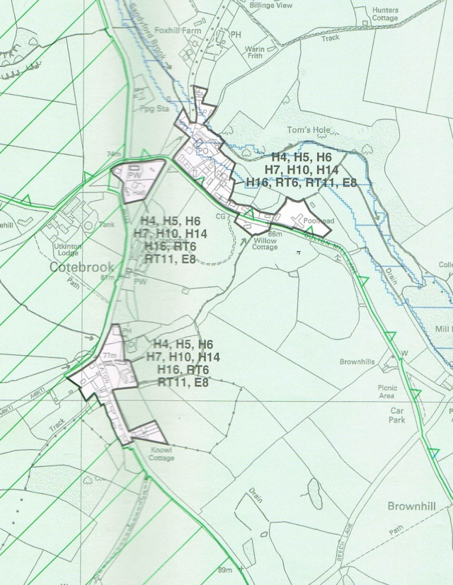 Cotebrook settlement Boundary (c.2006 Vale Royal)
